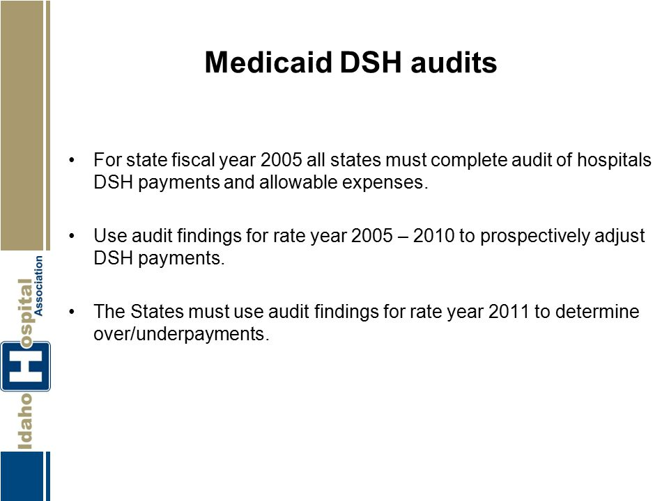 Medicaid DSH audits For state fiscal year 2005 all states must complete audit of hospitals DSH payments and allowable expenses.