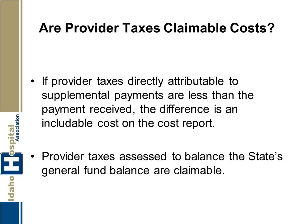 Are Provider Taxes Claimable Costs