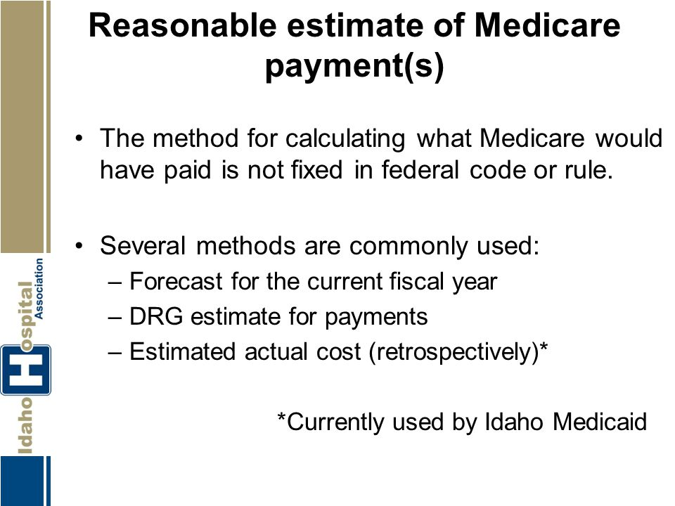 Reasonable estimate of Medicare payment(s)