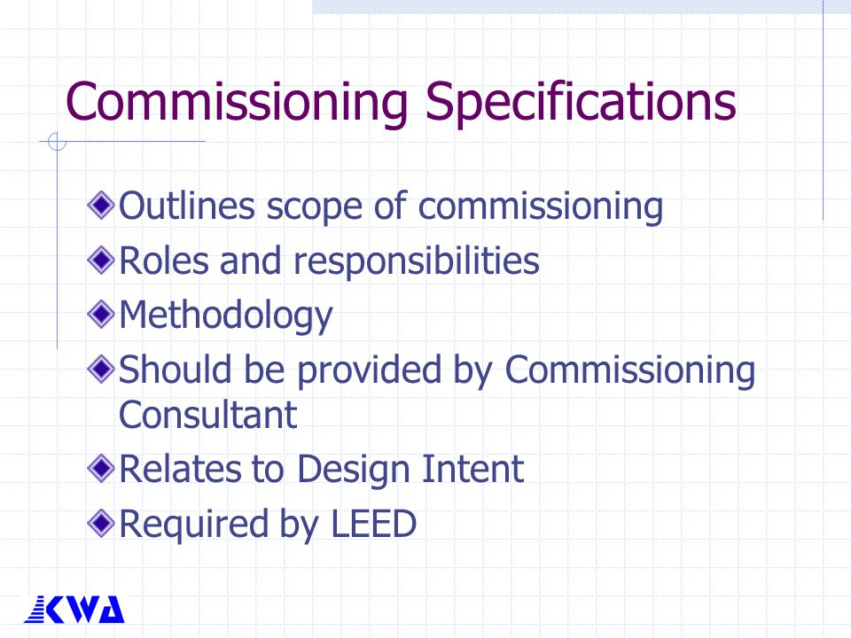 Commissioning Specifications