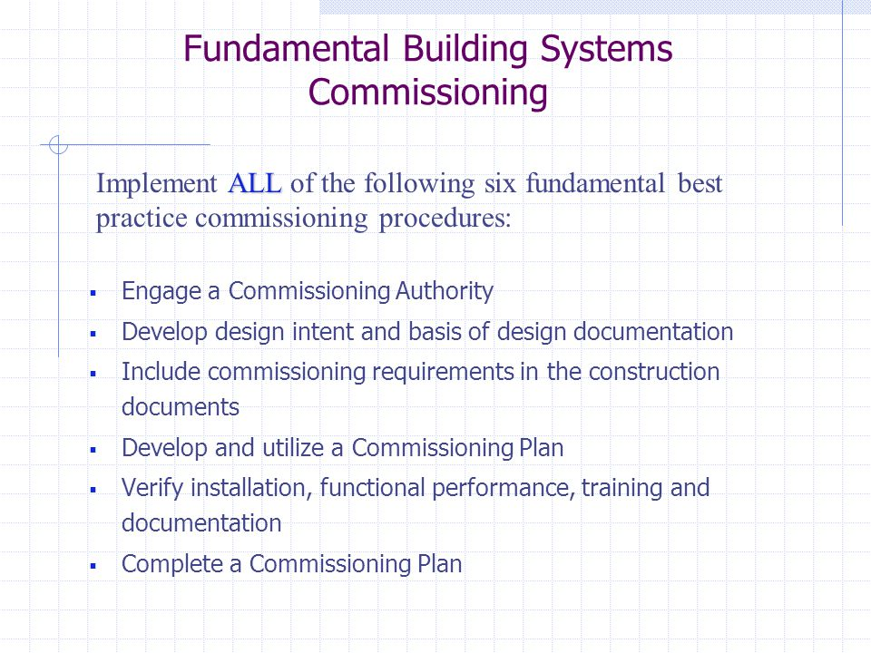 Fundamental Building Systems Commissioning