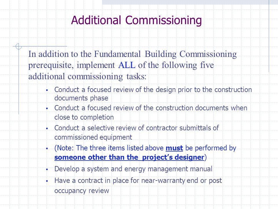 Additional Commissioning