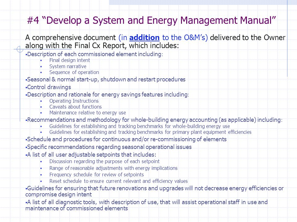 #4 Develop a System and Energy Management Manual