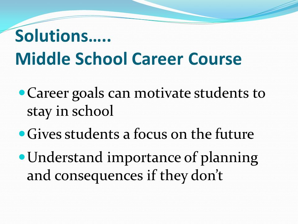 Solutions….. Middle School Career Course
