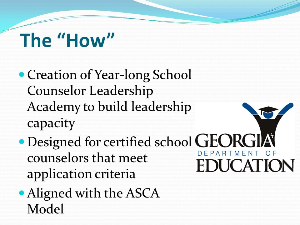 The How Creation of Year-long School Counselor Leadership Academy to build leadership capacity.