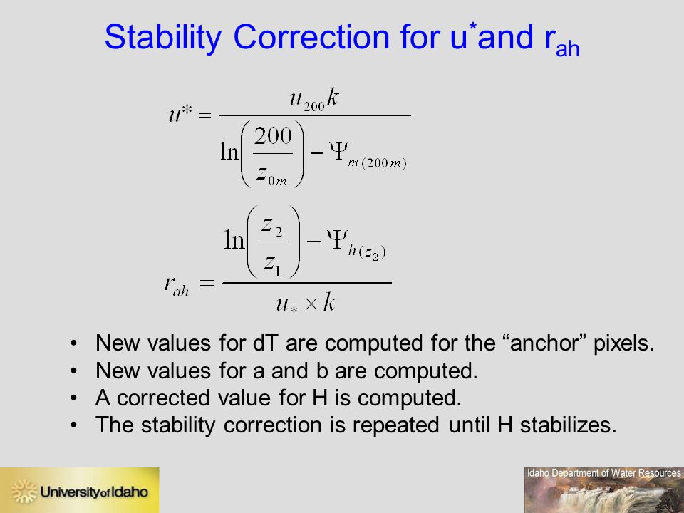 Stability Correction for u*and rah