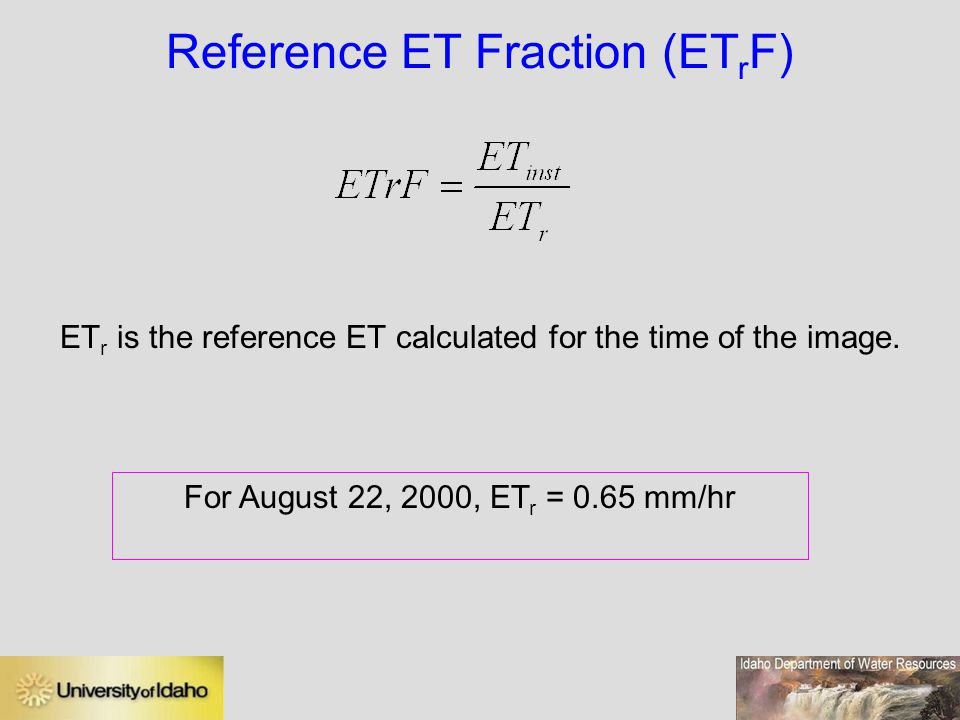 Reference ET Fraction (ETrF)