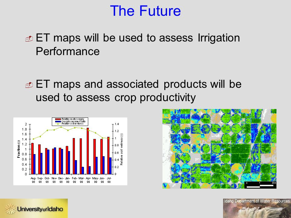 The Future ET maps will be used to assess Irrigation Performance