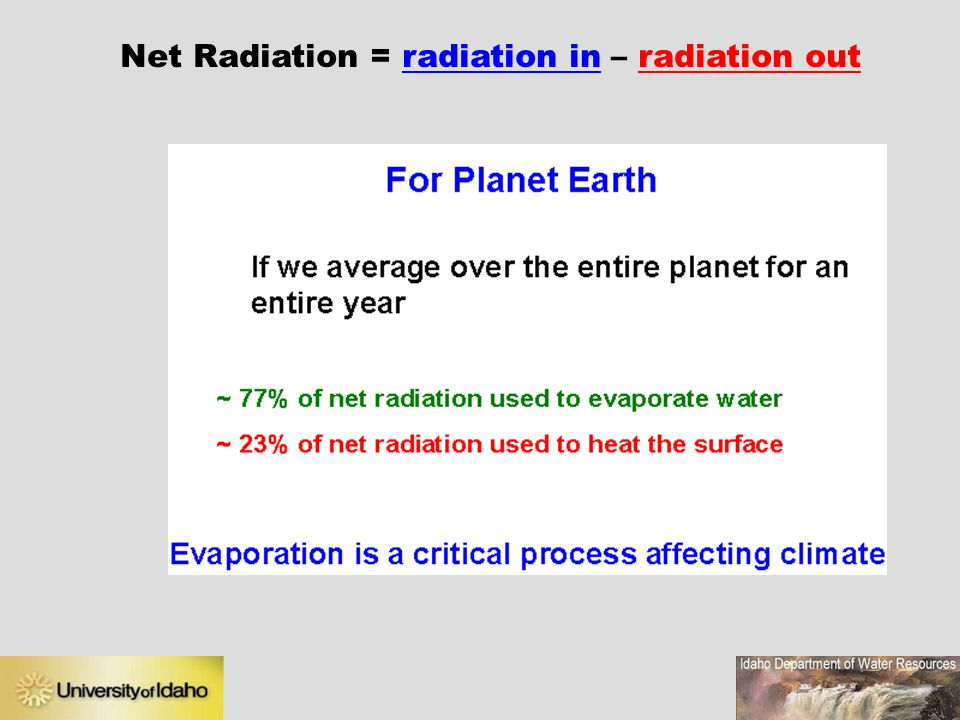 Net Radiation = radiation in – radiation out