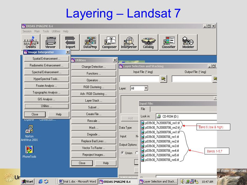 Layering – Landsat 7 Band 6 (low & high) Bands 1-5,7