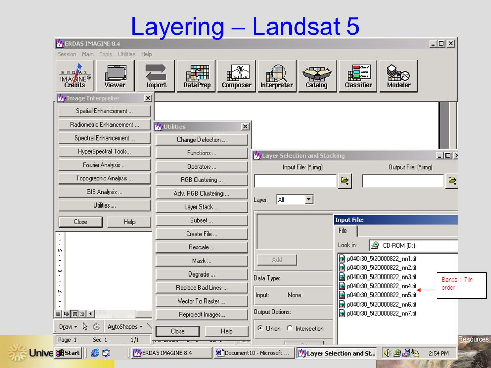 Layering – Landsat 5 Bands 1-7 in order