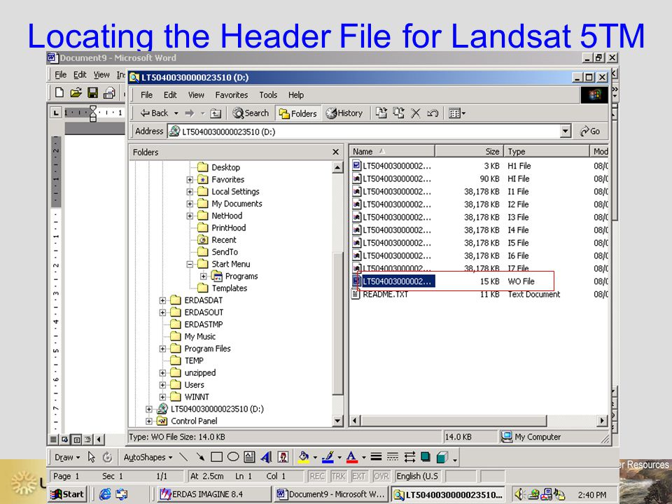 Locating the Header File for Landsat 5TM