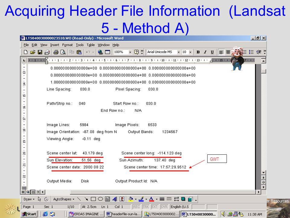 Acquiring Header File Information (Landsat 5 - Method A)
