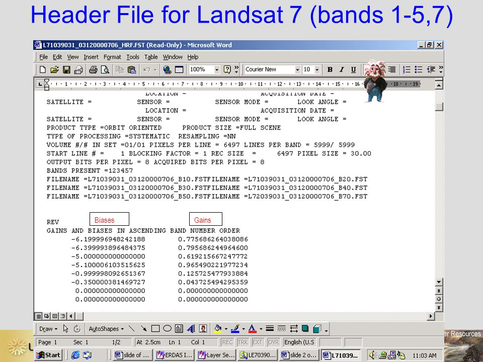 Header File for Landsat 7 (bands 1-5,7)