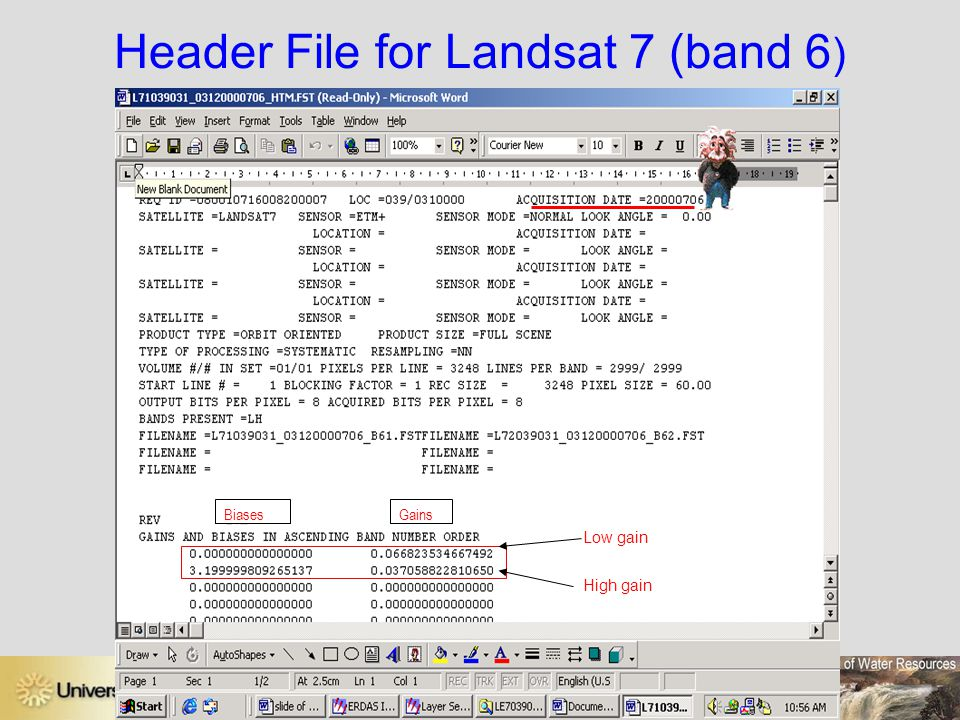 Header File for Landsat 7 (band 6)