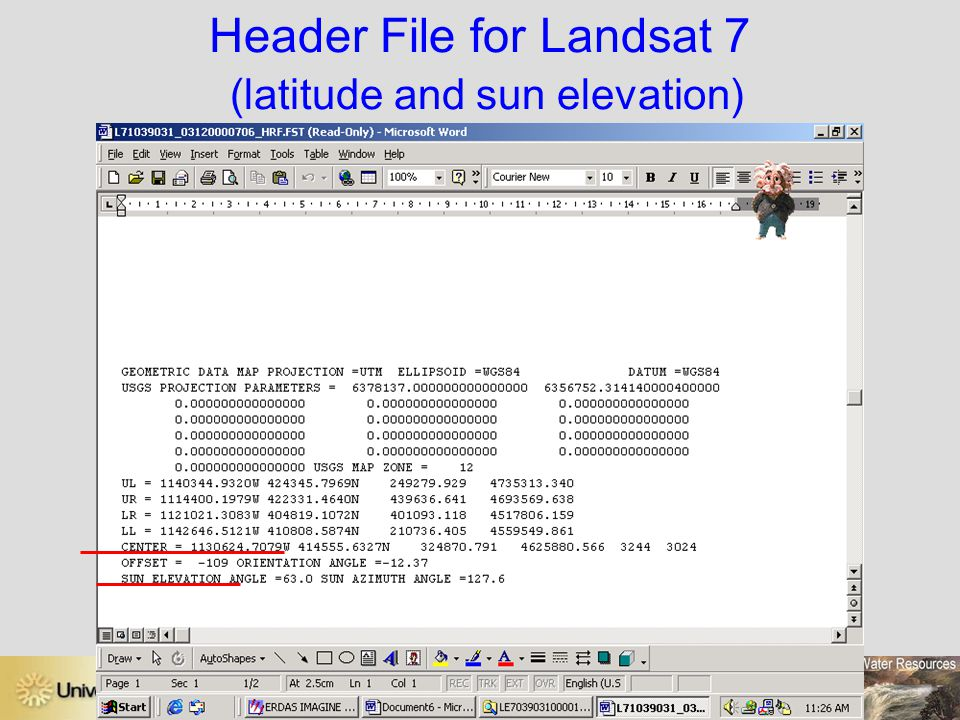 Header File for Landsat 7 (latitude and sun elevation)