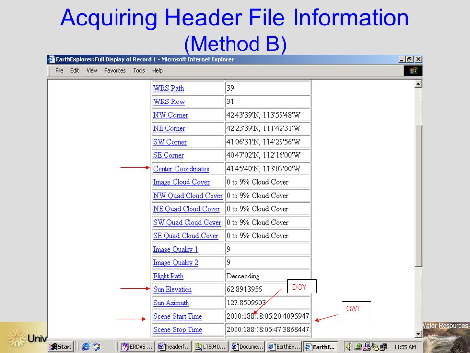 Acquiring Header File Information (Method B)