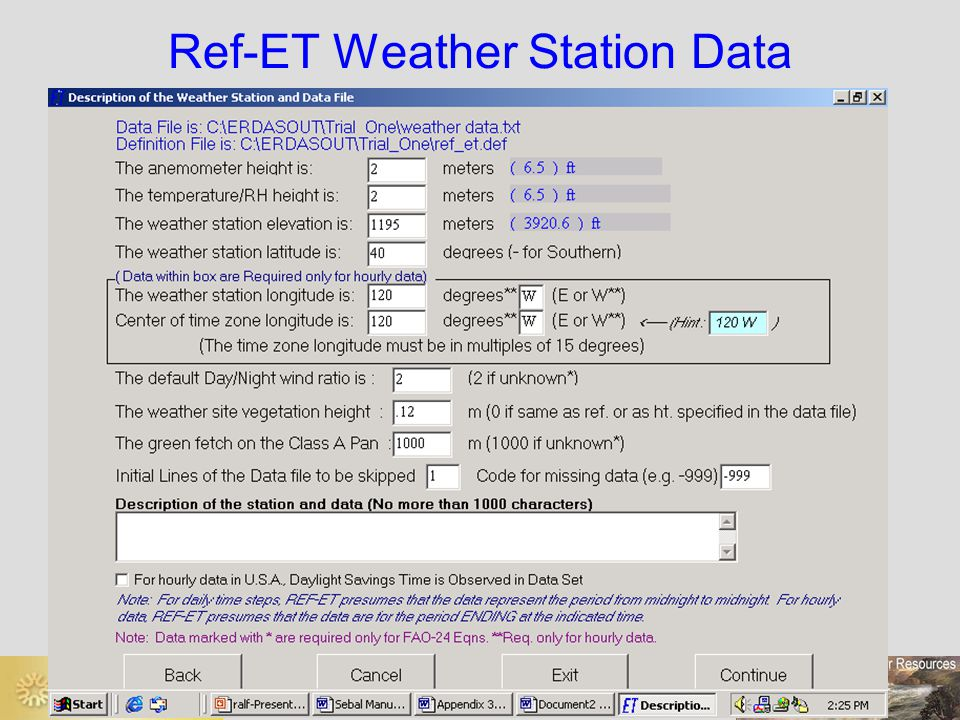 Ref-ET Weather Station Data
