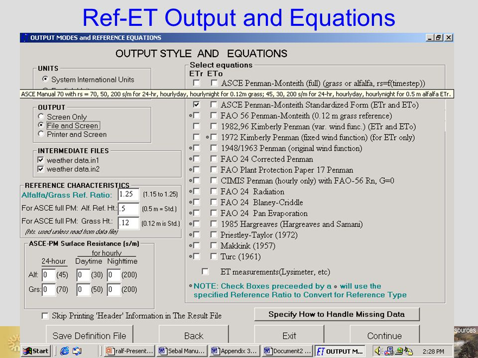 Ref-ET Output and Equations
