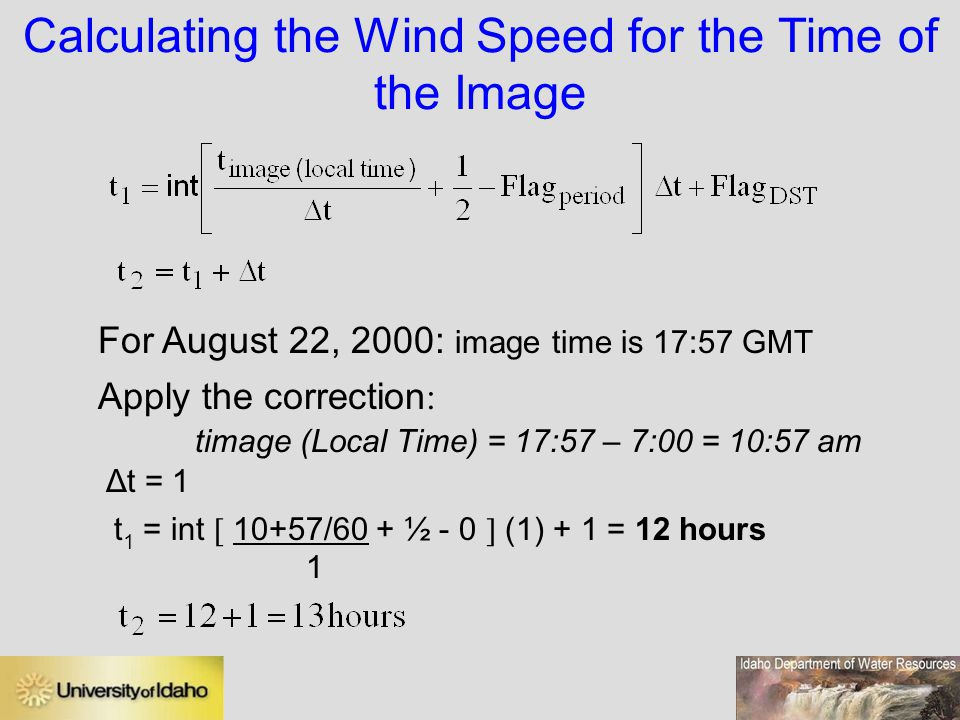 Calculating the Wind Speed for the Time of the Image