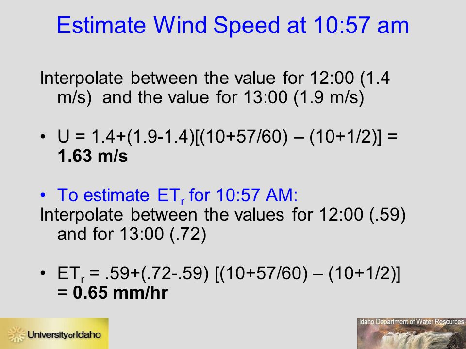 Estimate Wind Speed at 10:57 am