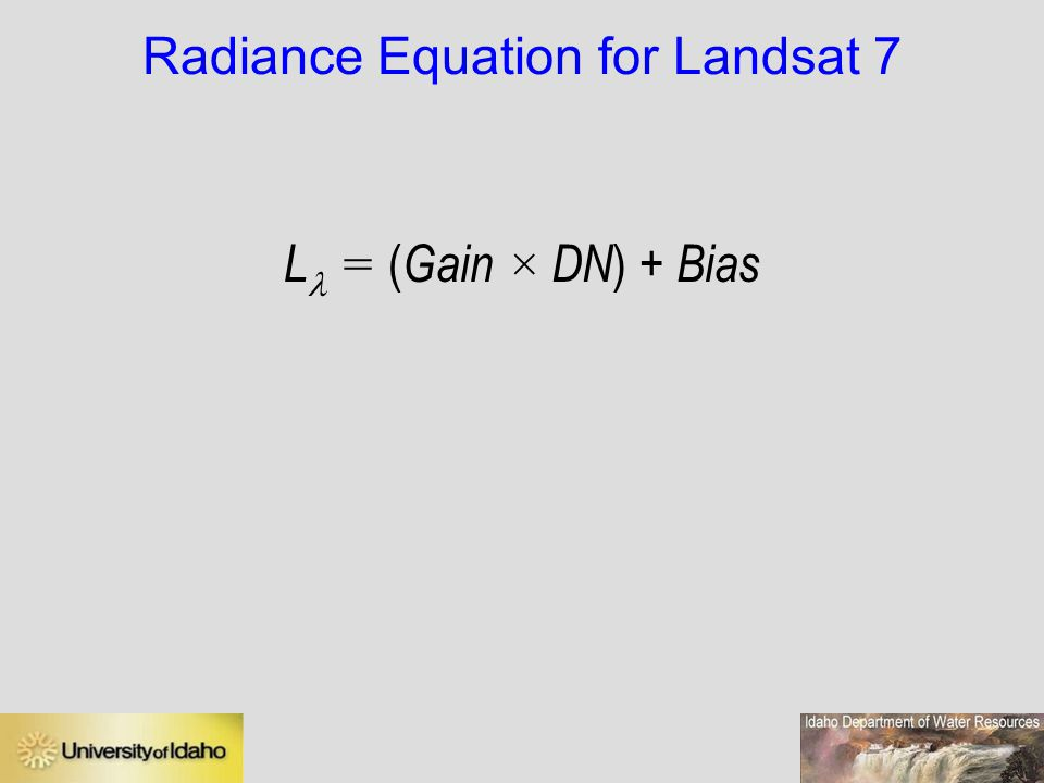 Radiance Equation for Landsat 7