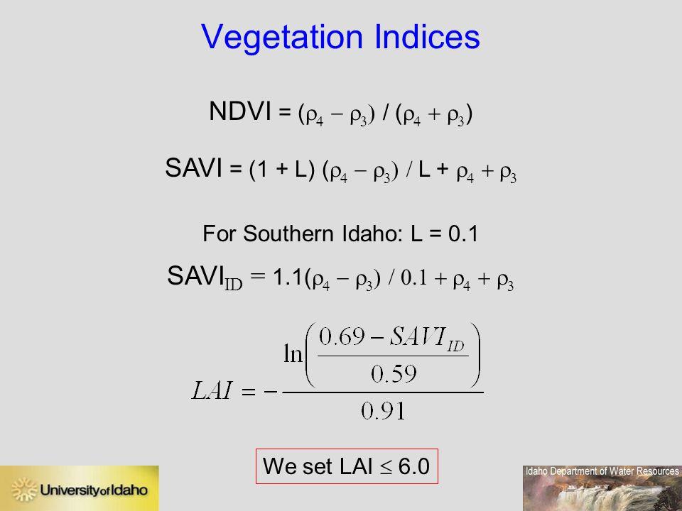 SAVI = (1 + L) (r4 - r3) / L + r4 + r3
