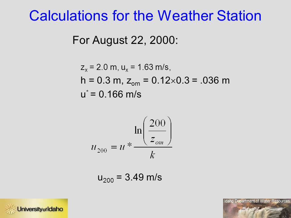 Calculations for the Weather Station
