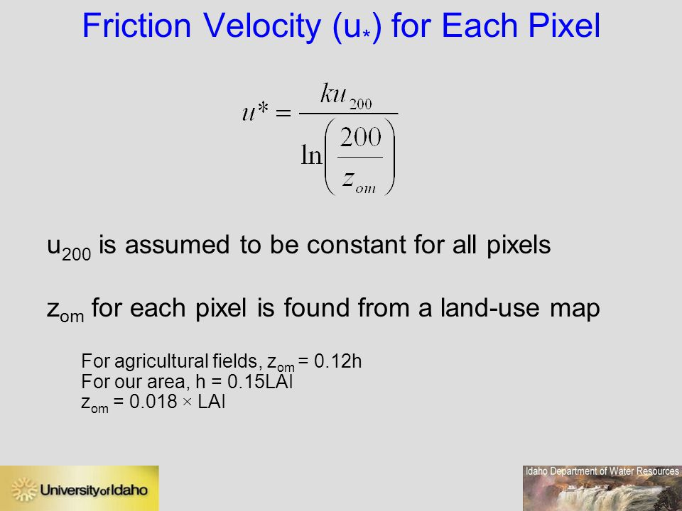 Friction Velocity (u*) for Each Pixel