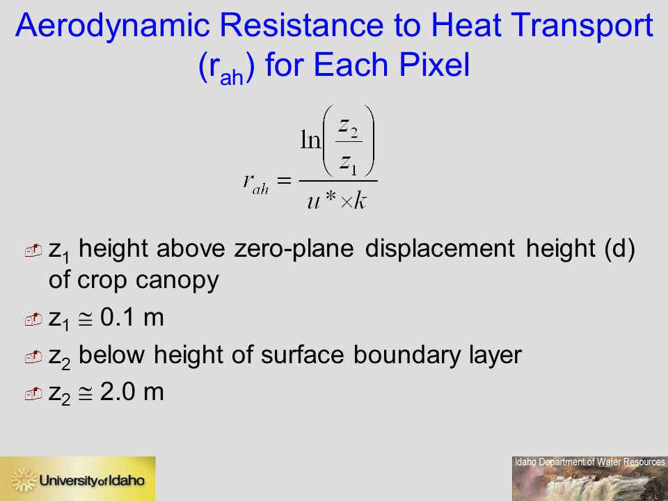 Aerodynamic Resistance to Heat Transport (rah) for Each Pixel