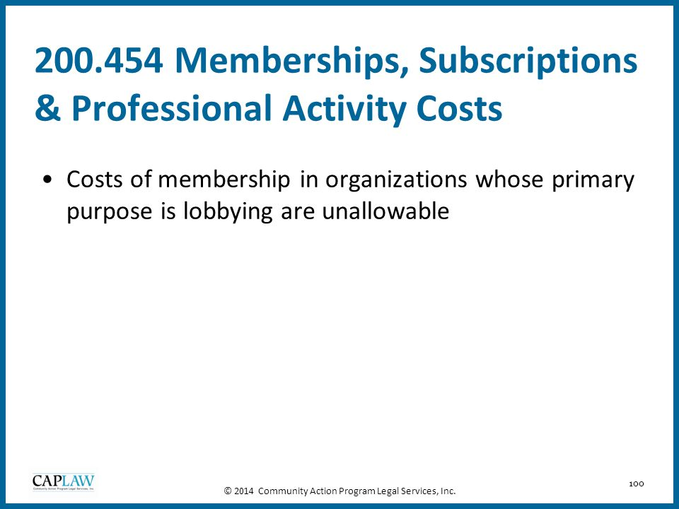 200.454 Memberships, Subscriptions & Professional Activity Costs