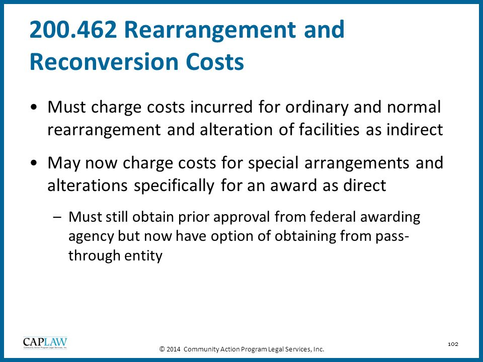 200.462 Rearrangement and Reconversion Costs