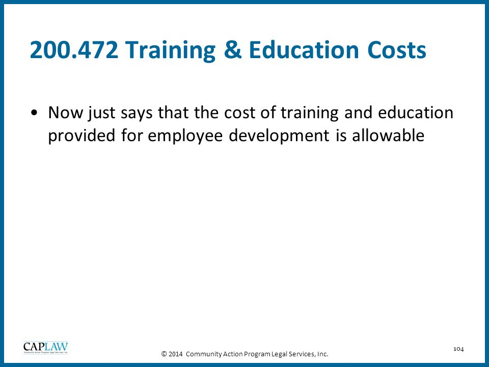 200.472 Training & Education Costs