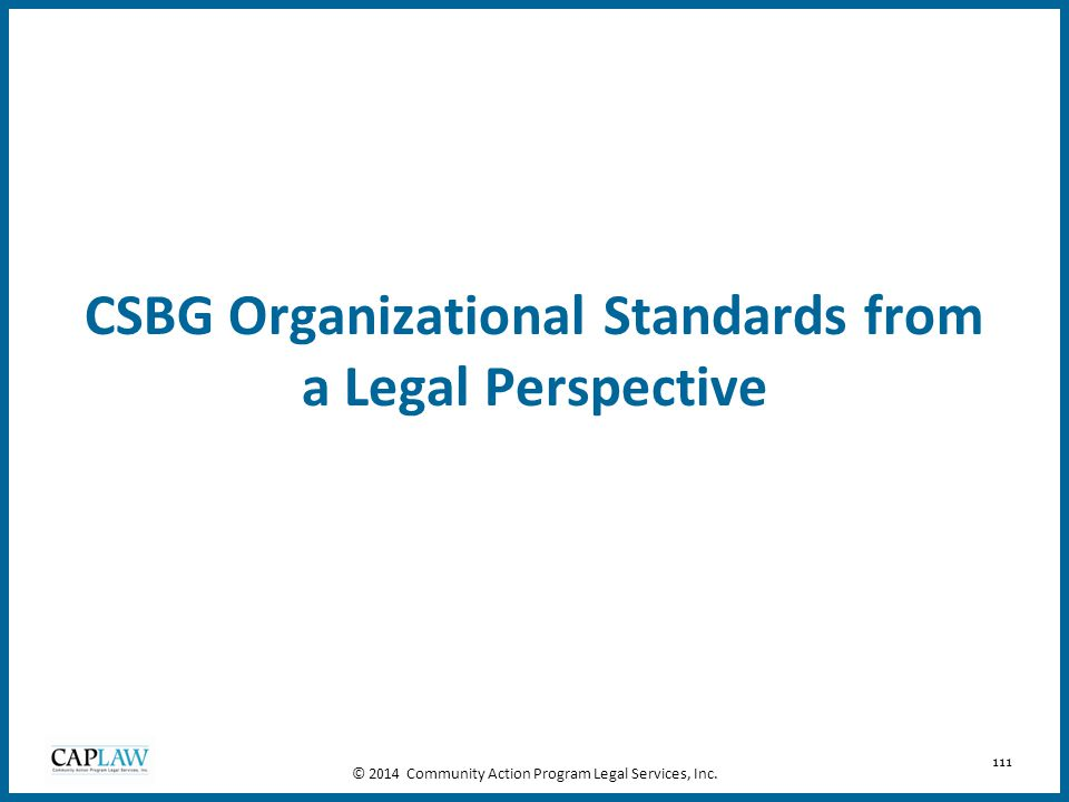 CSBG Organizational Standards from a Legal Perspective