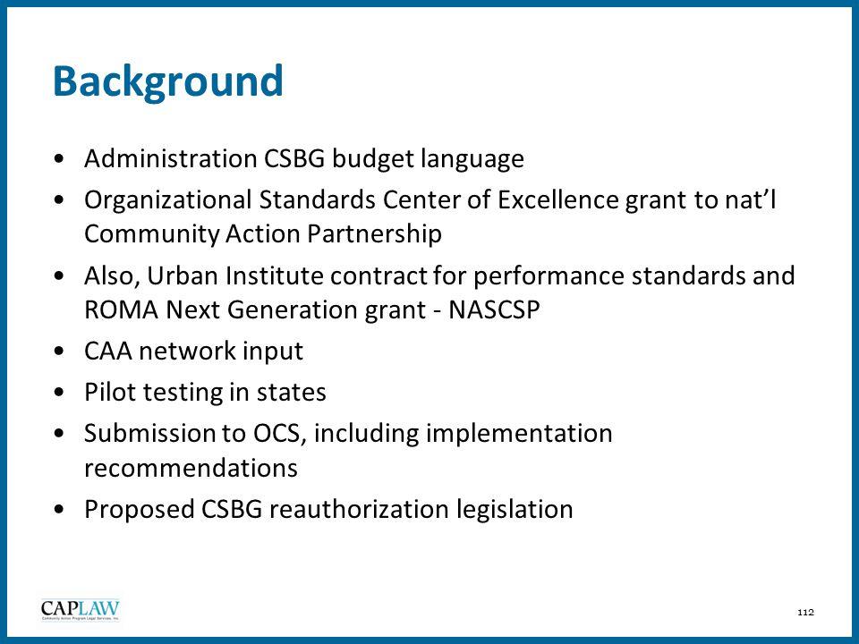 Background Administration CSBG budget language