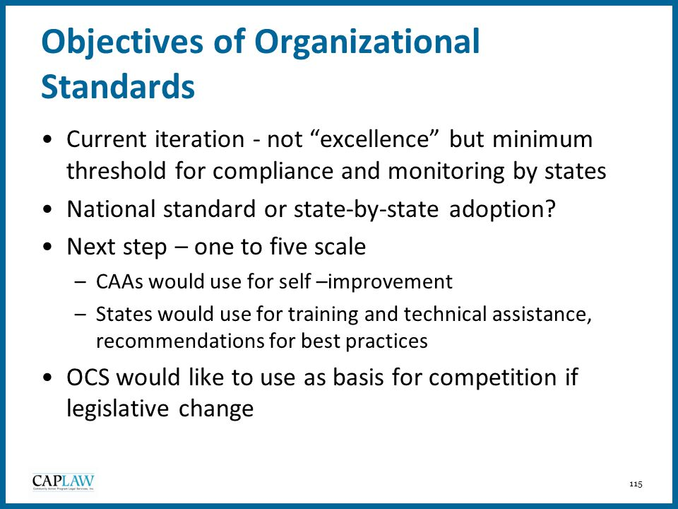 Objectives of Organizational Standards
