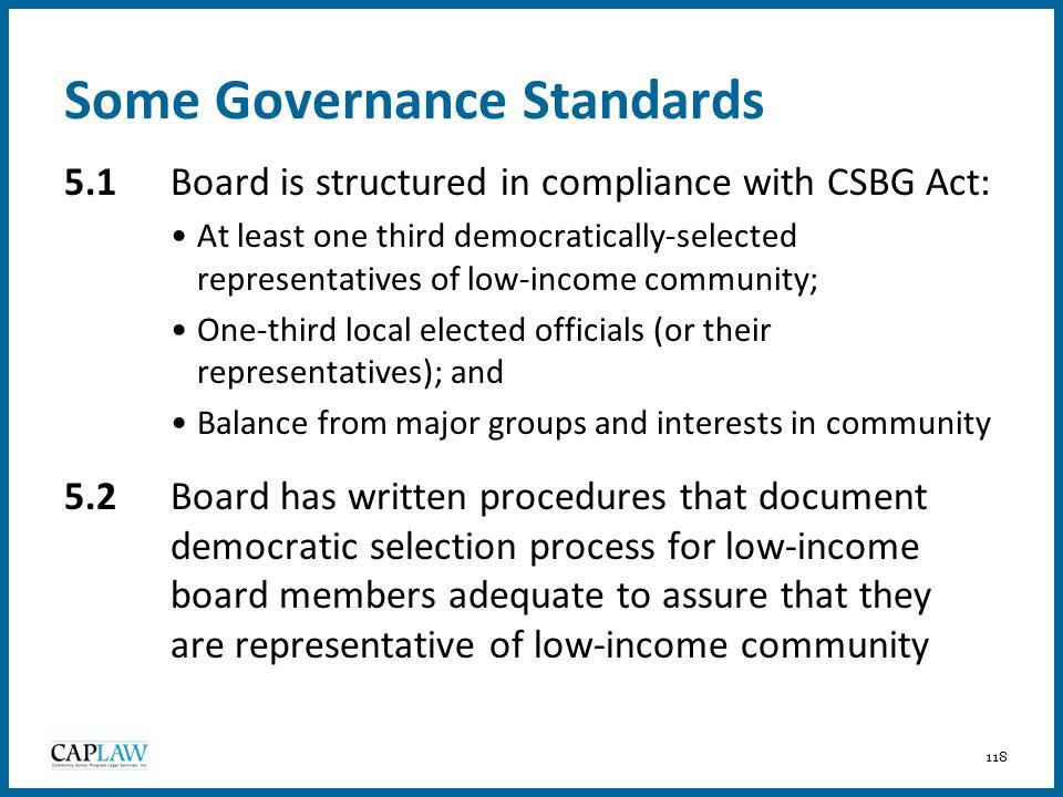 Some Governance Standards