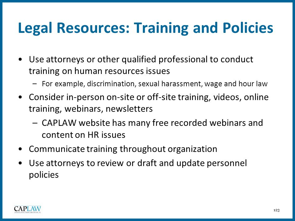 Legal Resources: Training and Policies