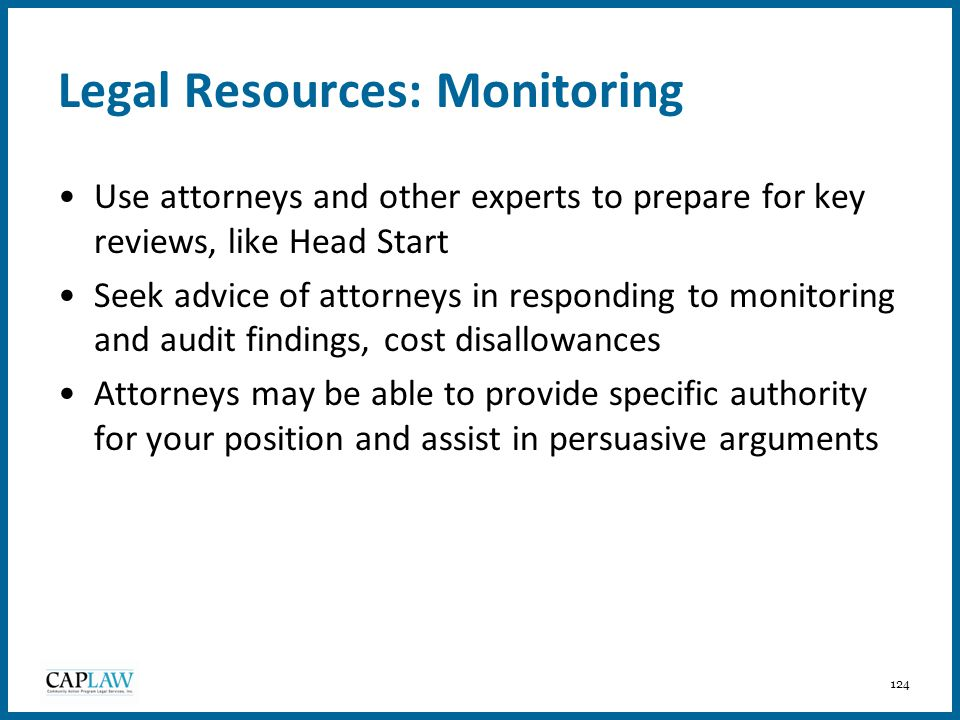 Legal Resources: Monitoring