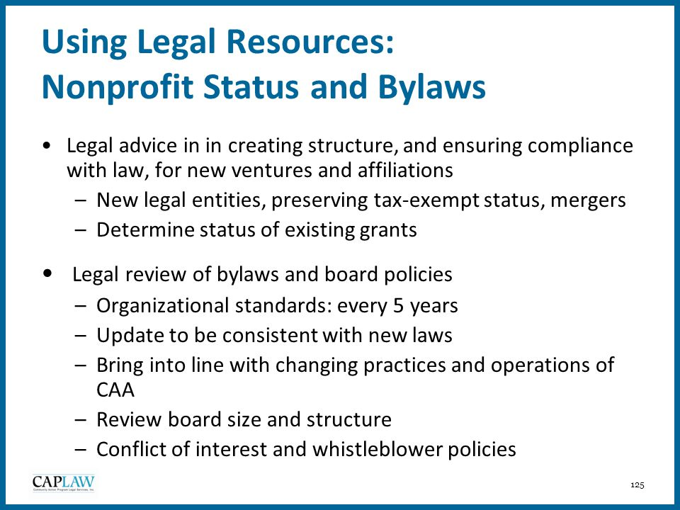 Using Legal Resources: Nonprofit Status and Bylaws
