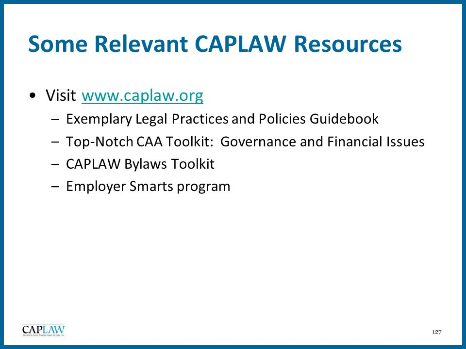 Some Relevant CAPLAW Resources