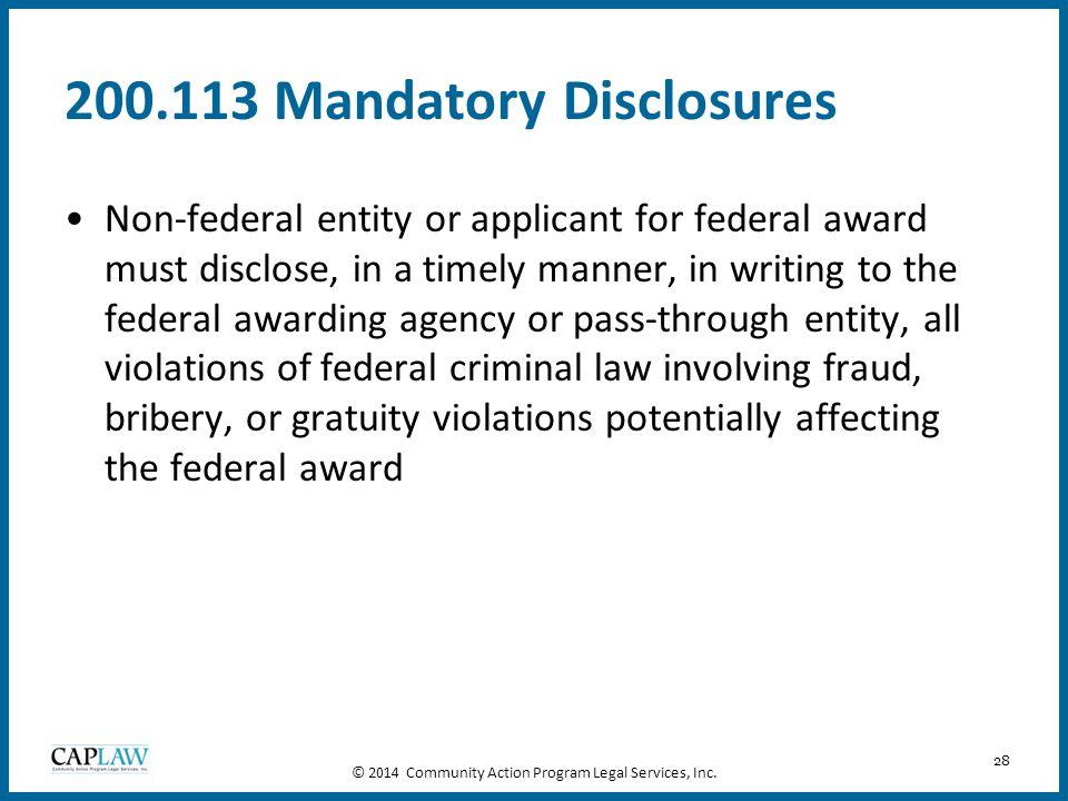 200.113 Mandatory Disclosures