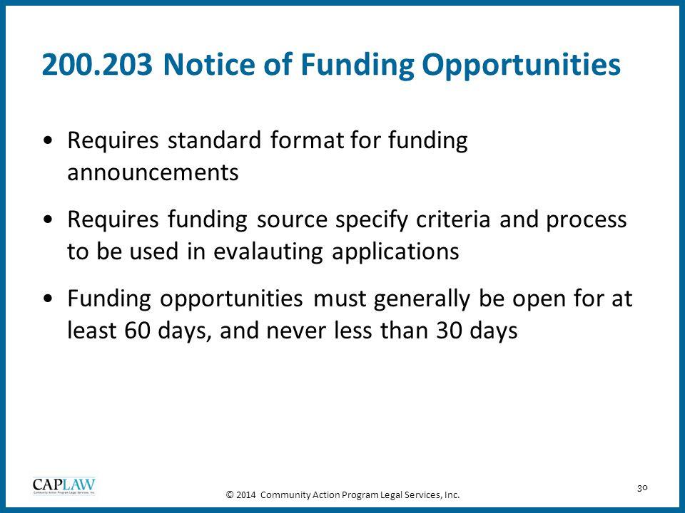 200.203 Notice of Funding Opportunities