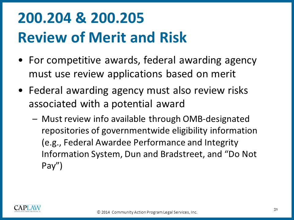200.204 & 200.205 Review of Merit and Risk