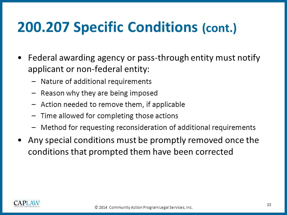 200.207 Specific Conditions (cont.)