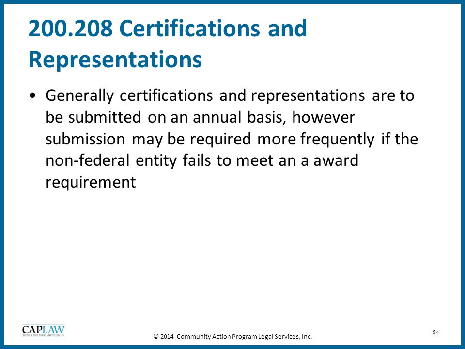 200.208 Certifications and Representations