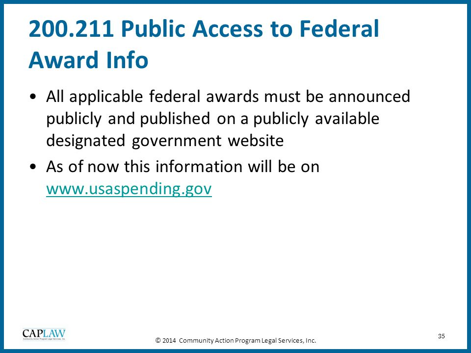 200.211 Public Access to Federal Award Info