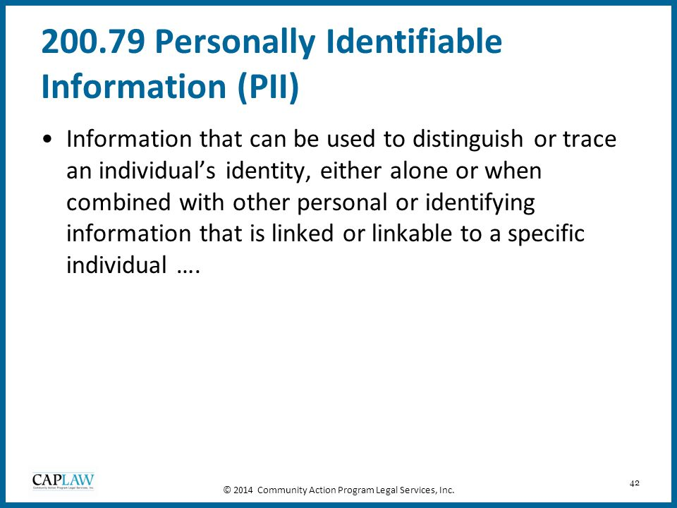 200.79 Personally Identifiable Information (PII)