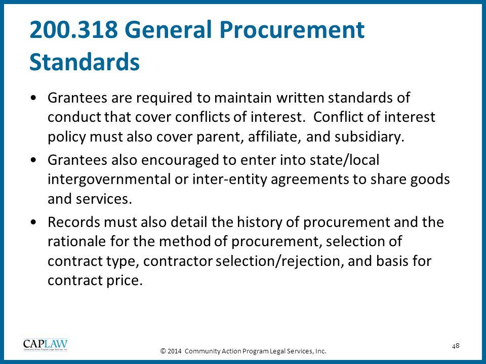 200.318 General Procurement Standards
