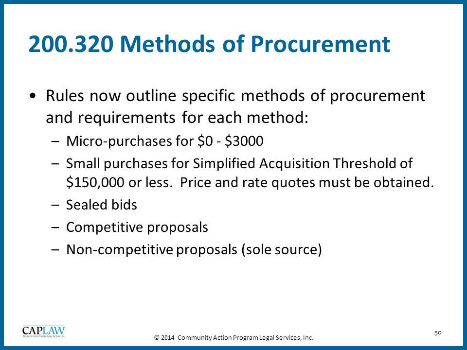 200.320 Methods of Procurement